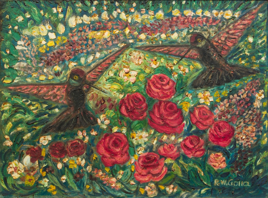 A1 NS2014.023 Hummingbirds with Floral Background I